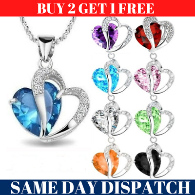 Womens Ladies Heart Crystal Pendant 925 Sterling Silver Chain Necklace Jewellery • 3.29£
