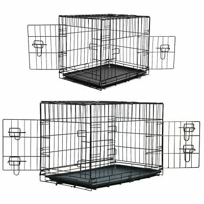 View Details Pet Crate Dog Cage With Plastic Tray Folding Metal Carrier Puppy Training Cat  • 49.99£