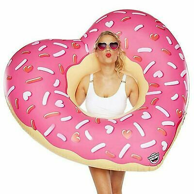 Giant Inflatable Heart Frosted Donut Pool Float Lounger Beach Swimming Ring Lilo • 5.99£