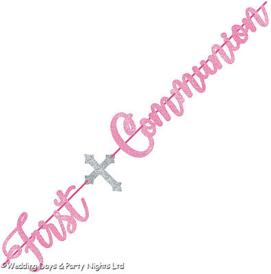 12ft Girls Sparkly Pink Glitter First Holy Communion Banner Party Decorations • 4.59£