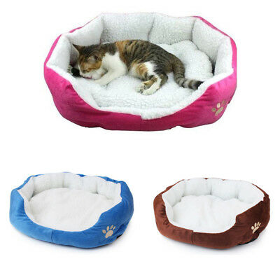 Small Round Soft Dog Bed Pet Puppy Cat Warm Basket Cushion With Fleece Lining • 7.99£
