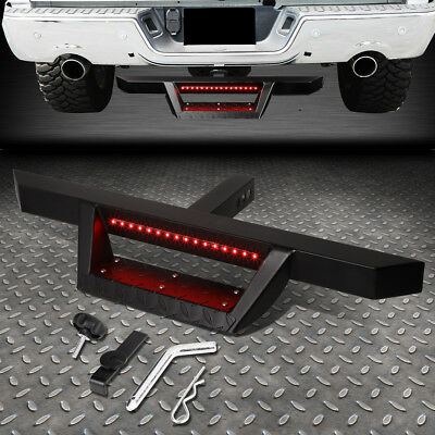 $73.88 • Buy For 2  Tow Trailer Receiver Black Hitch Step Bar Bumper Guard W/led Brake Light