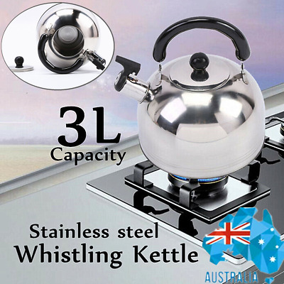 AU19.79 • Buy 3L Stainless Steel Whistling Kettle Teapot For All Kitchen Stove Top/Induction