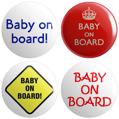 4 X Baby On Board BUTTON PIN BADGES 25mm 1 INCH Pregnant Novelty Mother • 2.49£