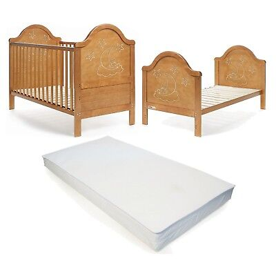 £99.95 • Buy Wooden Baby Cot Bed & Deluxe Foam Mattress Converts To Junior Bed -FREE DELIVERY