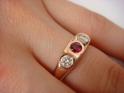 $750 • Buy 14k Solid Rose Gold Gypsy Ring Genuine Ruby And Two Diamonds 0.60 Ct T.w.