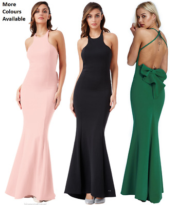 £34.19 • Buy Goddess Backless Bow Detail Fishtail Party Evening Prom Dress Bridesmaid Maxi