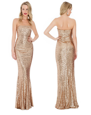 £39.99 • Buy Goddiva Champagne Gold Sequin Strapless Sweetheart Evening Maxi Dress Party
