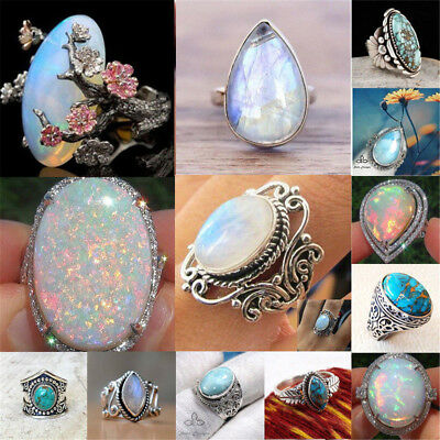 $1.14 • Buy New Silver Ring Woman Man White Fire Opal Moon Stone Wedding Engagement Size6-10