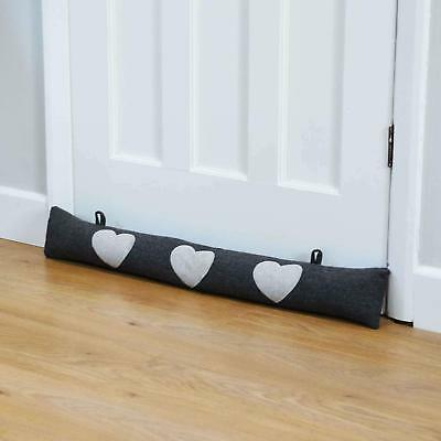 Door Draught Excluder Cold Air Draft Stopper Herringbone Fabric Cushion Grey NEW • 12.99£