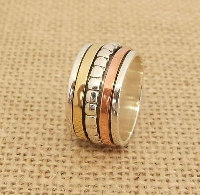 925 Sterling Silver Brass Copper 3 Tone Spinning Worry Band Ring Sizes K-S 1/2 • 24.95£