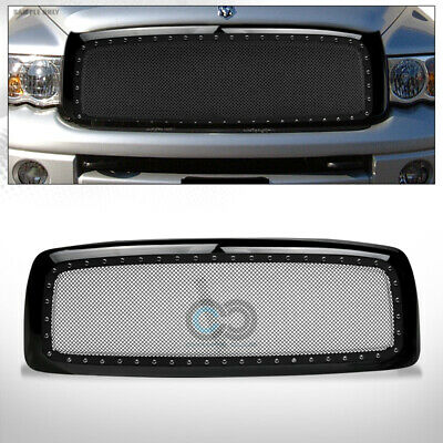 $164.95 • Buy Fit 02-05 Dodge Ram Glossy Blk Rivet Bolt Steel Mesh Front Bumper Grille W/Shell