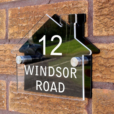 Personalised Custom House Shaped Number / Name Road Plaques Acrylic Door Sign  • 9.99£
