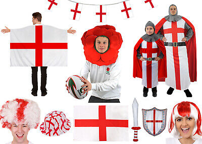 £7.99 • Buy England St Georges Day Costumes Accessories Outfit Rugby Knight Fancy Dress Lot
