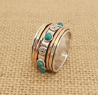 925 Sterling Silver Copper Brass Turquoise Spinning Band Finger Thumb  Ring 14mm • 24.95£