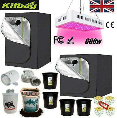 £189.99 • Buy LED Grow Light Tent Kit Complete Set Up Hydroponics Fan Filter Coco Pots Growing