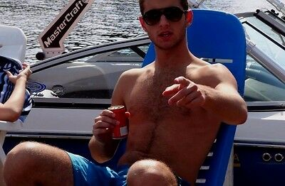 $ CDN4 • Buy Shirtless Male Muscular Hairy Dude Relaxing On Boat Beefcake PHOTO 4X6 D575
