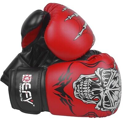 $ CDN20.64 • Buy DEFY®  Boxing Gloves Leather Punch Training Sparring MMA Fight UFC Red Skull