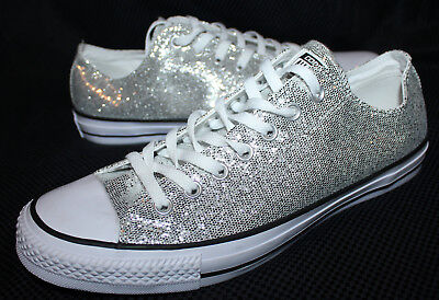 NEW Converse All Star Sneakers Shoes Silver Sparkle Low Womens 13 Mens 11 •  47.99  a80645f1b