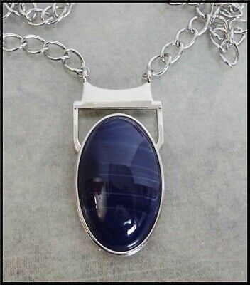 $ CDN94.36 • Buy Long & Thick LIA SOPHIA NECKLACE With Large Oval Simulated Lapis Setting Pendant