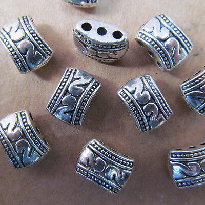 100PC 8*11mm Retro Tibet Silver 3 Holes Carved Spacer Beads Charms PJ004 • 5.60£