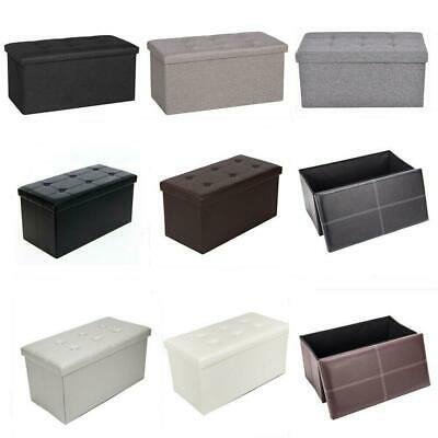 Faux Leather Folding Ottoman Storage Stool Box Pouffe Foot Rest Seat Cushion • 16.99£