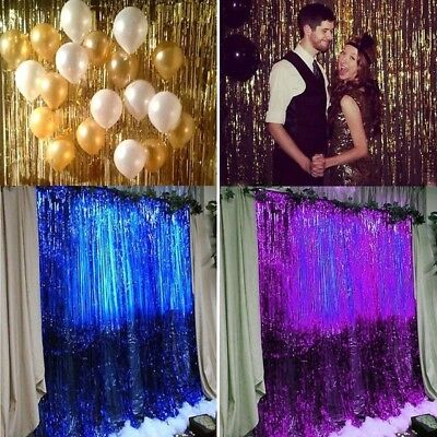 $2.47 • Buy Foil Fringe Door Curtains Party  Birthday Wedding Photo Booth Props Backdrop UK