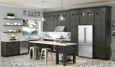 $6.99 • Buy Charcoal Gray Shaker Stained RTA Kitchen Cabinets All Wood, In Stock Sample