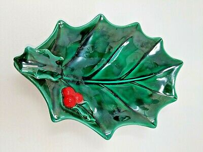 $ CDN10.88 • Buy Vintage 1950s Lefton Green Holly Leaf/Red Berries Candy/Nut Dish Christmas