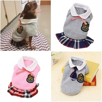 £8.49 • Buy Dog Clothes School Style Outfit For Small Puppy Pet Cute Yorkshire Chihuahua