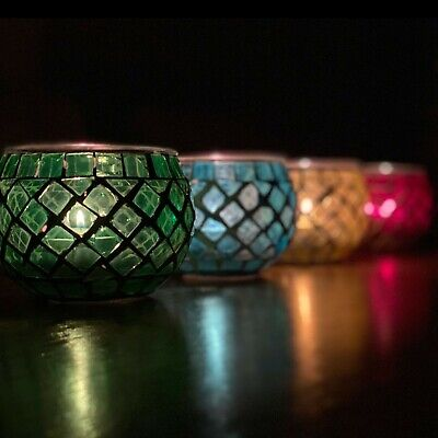 £5.99 • Buy Mosaic Glass Candle Holder Jar Tealight Holders With 8 Hour Tea Light Candles