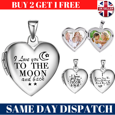 I Love You To The Moon & Back Silver Heart Photo Locket Necklace Valentines Gift • 4.99£