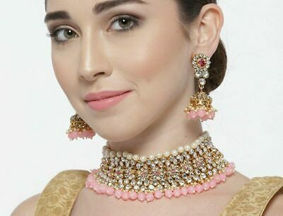 $21.99 • Buy Indian Bollywood Wedding Pink Choker Necklace Earrings Bridal Fashion Jewelry