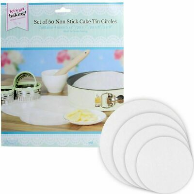 50 X Non Stick Round Cake Tin Liners 4 Various Sizes Mats Sheets Paper Circles • 1.99£