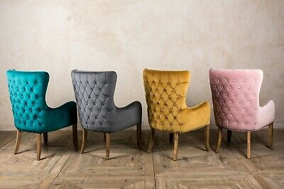 Velvet Carver Chairs French Style Button Back Chairs In Three Colours • 265£