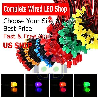 $4.75 • Buy 1.8mm 3mm 5mm 10 Pre Wired LED Cabled DC9-12V Diffused Lights Emitting Diodes