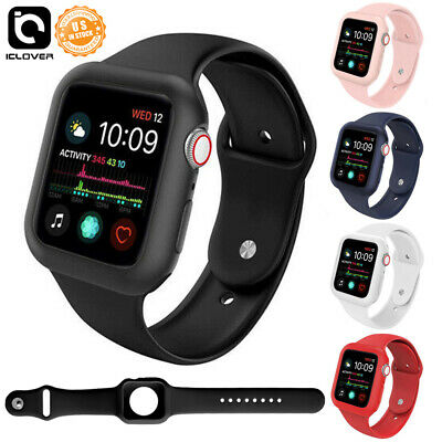 $ CDN11.83 • Buy Silicone Watch Band Case Protect Cover Strap 40/44mm Fr Apple Watch Series 4 5 6