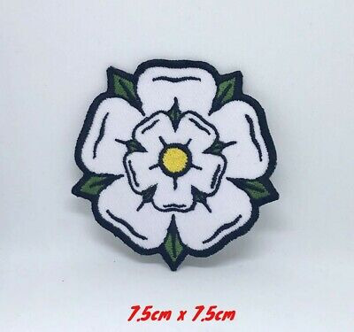 £1.95 • Buy White Yorkshire Rose Iron On Sew On Embroidered Patch #698W