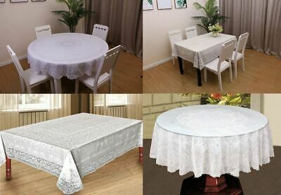 100% Vinyl White Embossed Lace Tablecloth Table Cover Oval Rectangle Square PVC • 4.49£