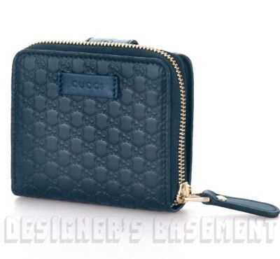 c1226836264 GUCCI Blue Leather Micro GUCCISSIMA French Zip Around Pouch Wallet NIB  Authentic • 329.99