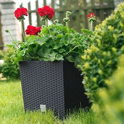 Black Rattan Square Plant Flower Pot Garden Home Holder Pots Planter Herb 32cm • 13.99£