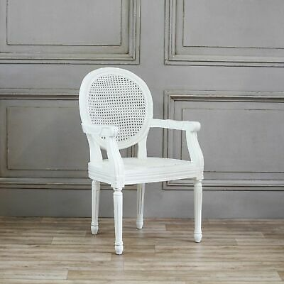 Antique French Style Chateau White Rattan Dining Chair Carver Armchair  • 259.99£