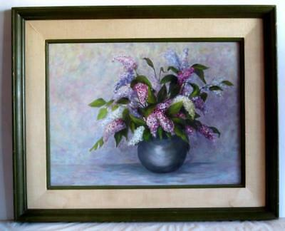 $ CDN40.36 • Buy Original Esther Williams Lilacs Still Life Oil On Board Painting 32 X26  Framed