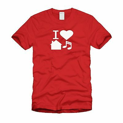 I Love House Music Electric Dance - EDM Stylish Cool Red T-Shirt • 9.90£