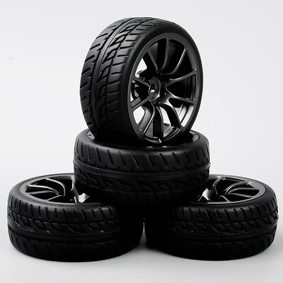 4Pcs 1:10 RC On Road Racing Car Black Wheel &Rubber Tires Foam Insert 12mm Hex • 13.75£