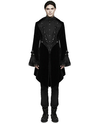 b47d7494 Punk Rave Mens Gothic Frock Coat Jacket Black Velvet Steampunk Vampire  Regency • 136.59$