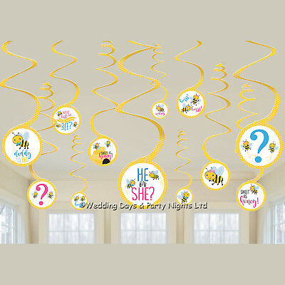 £1.95 • Buy 12 Honey Bee He Or She Hanging Swirls Baby Shower Party Gender Reveal Decoration