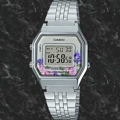 $ CDN38 • Buy Casio LA680WA-4C Women Mid-Size Silver Digital Retro Vintage Watch FLORAL New