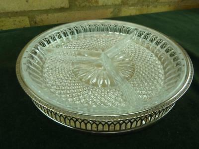 £19.99 • Buy Vintage Cavalier Round Tray With Cut Glass Liner  Serving Tray Sliver Plated