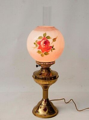 $ CDN63.44 • Buy Vintage GWTW Hand Painted Roses Glass Shade Brass Electric Table Lamp Light